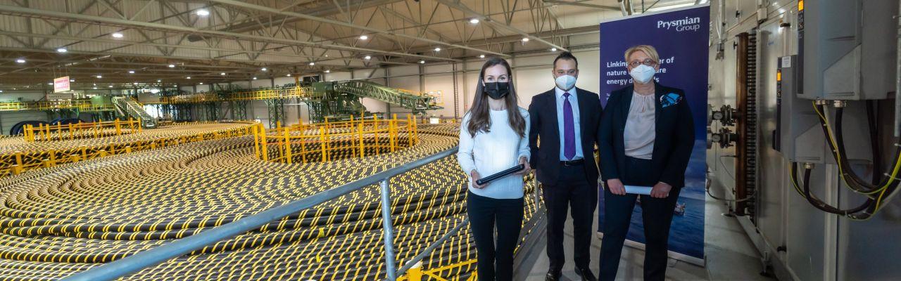 Pääministeri vieraili Prysmian Groupin lippulaivatehtaalla
